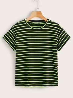 Drop Shoulder Neon Striped Tee
