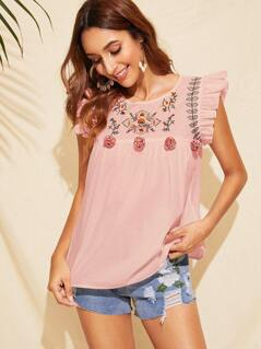 Embroidery Front Pompom Detail Ruffle Trim Top