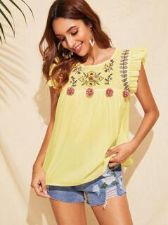 Ruffle Trim Pompom Detail Floral Embroidery Top