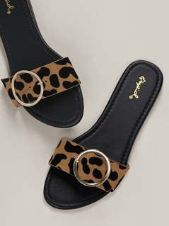 Buckled Leopard Band Open Toe Flat Slide Sandals