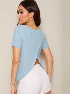 Wrap Back Rib-knit Solid Tee