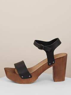 Side Buckle Wood Detail Platform Chunky Heels