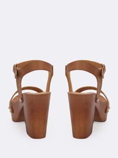 852d31f0dd3 Buckled Ankle Wood Block Heel Platform Sandals
