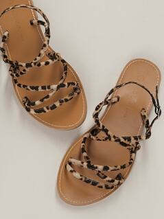 Side Buckle Leopard Strappy Flat Sandals
