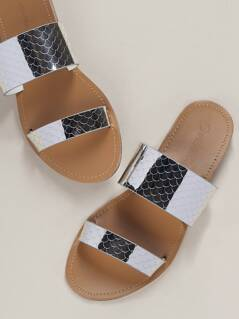 Mirrored Snakeskin Twin Band Slide Sandals