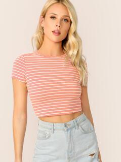 Cap Sleeve Striped Crop Tee