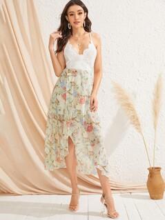Criss-cross Tie Back Floral Print Guipure Lace Dress
