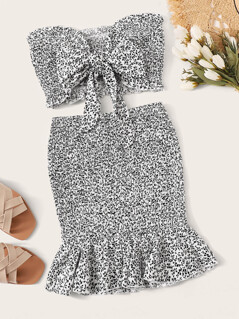 Ditsy Floral Knot Shirred Bandeau and Skirt Set