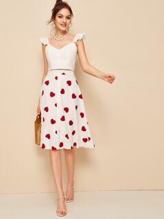 Ruffle Strap Crop Top & Heart Print Skirt Set