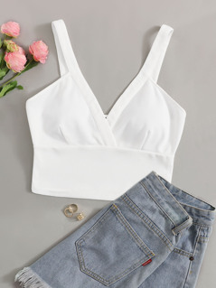 Surplice Neck Wide Hem Bralet Top