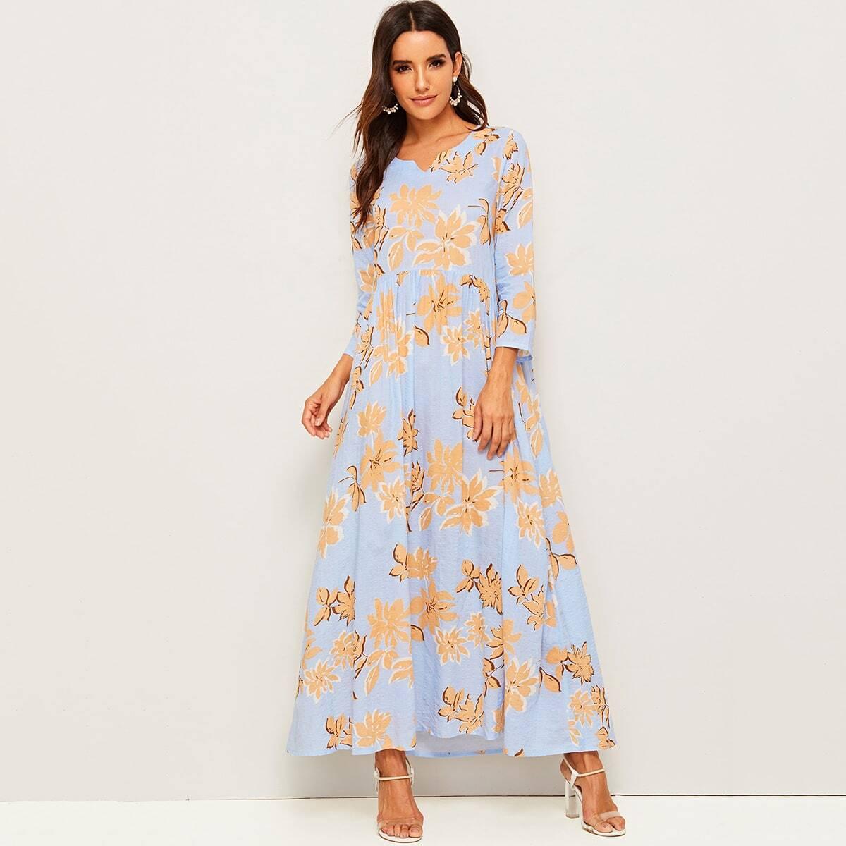 Длинное платье с цветочным принтом Image
