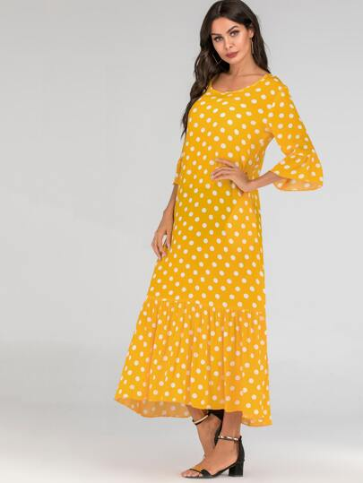 SheIn / Polka Dot Print Flounce Sleeve Maxi Dress