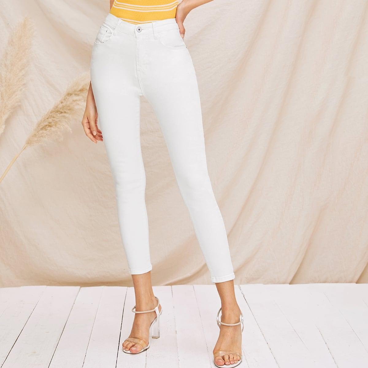 Wit Basics Vlak jeans