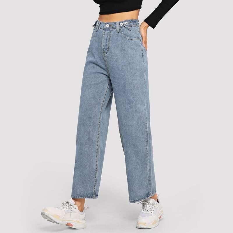 Stitch Detail Wide Leg Jeans, Blue