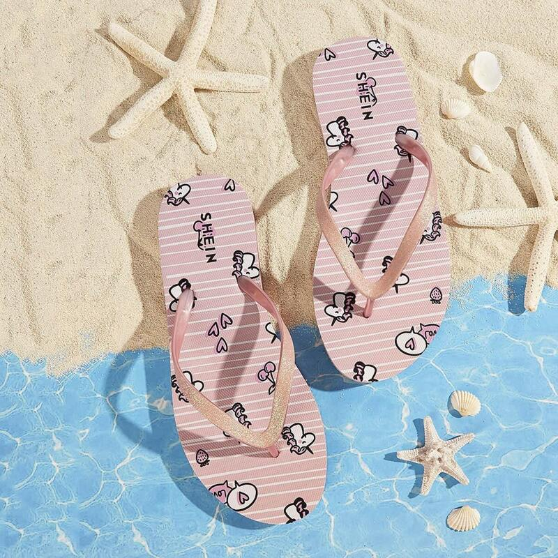 Unicorn Pattern Toe Post Striped Slippers, Pink