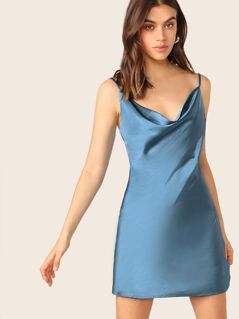 Satin Cowl Neck Sleeveless Mini Dress