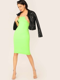 Double Layered Strapless Neon Tube Dress