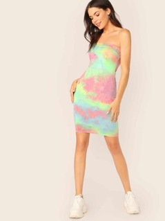 Double Layered Strapless Tie Dye Mini Tube Dress