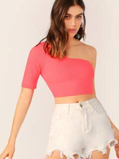 One Shoulder Rib Knit Neon Crop Top