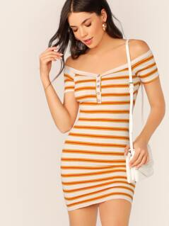 Bardot Half Button Stripe Ribbed Mini Dress
