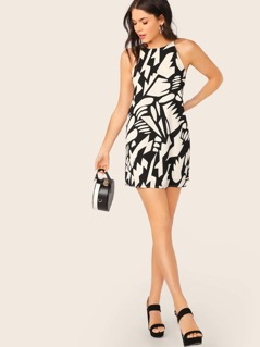 Halter Neck Abstract Print A-Line Swing Dress