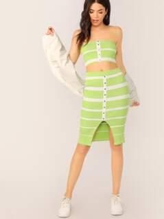 Stripe Ribbed Crop Tube Top And Midi Skirt Set