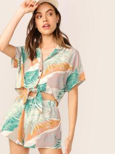 Tropical Leaf Button Up Shirt And Shorts Set