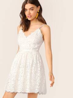 V-Neck Scalloped Edge Sleeveless Lace Dress