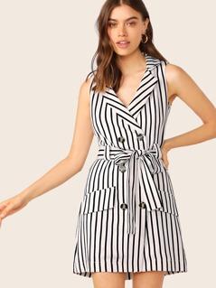 Double Breasted Waist Tie Stripe Vest Dress