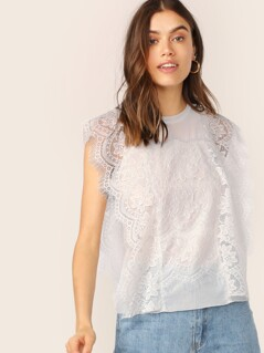 Crew Neck Sheer Lace And Mesh Sleeveless Top