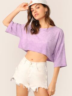Terry Cloth Crew Neck Cropped Short Sleeve Top