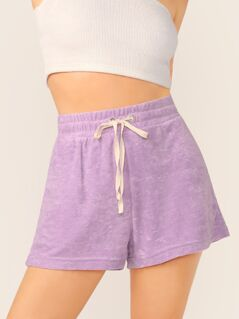 Elastic Drawstring Waist Terry Cloth Shorts