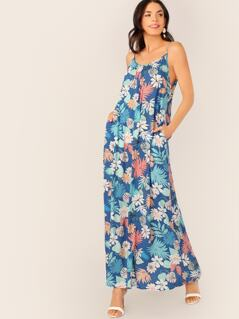 Scoop Neck Spaghetti Strap Floral Maxi Dress