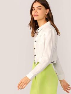 Button Front Lightweight Crop Linen Jacket