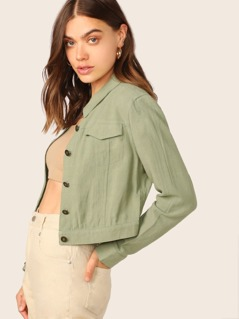Button Front Lightweight Crop Linen Jacket