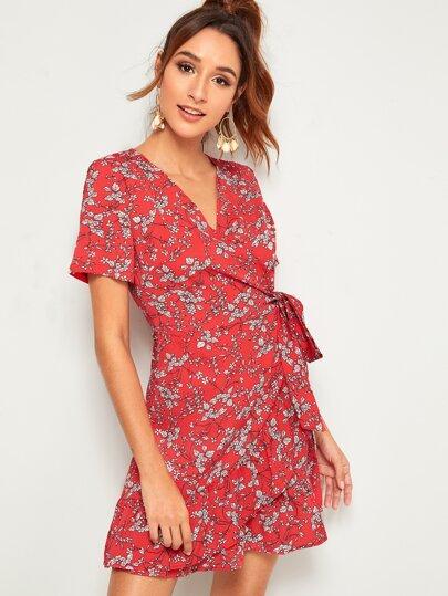 SheIn / Ruffle Hem Tie Side Dress With Wrap Top