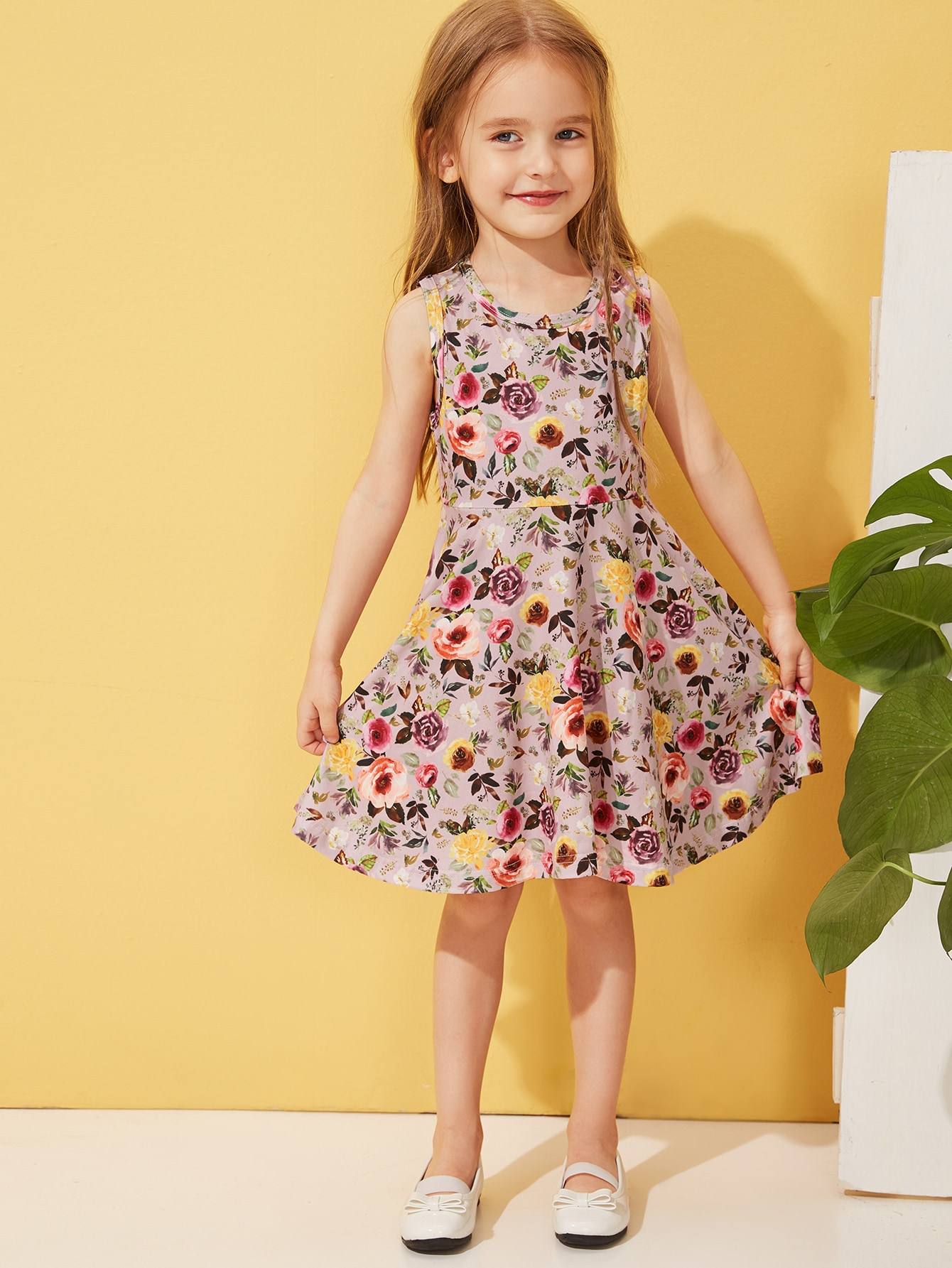 Фото - Платье с цветочным принтом для девочек от SheIn цвет многоцветный