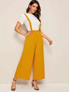 Knot Back Wide Leg Pinafore Pants