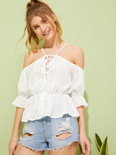Cold Shoulder Tie Up Lace Insert Crinkle Top