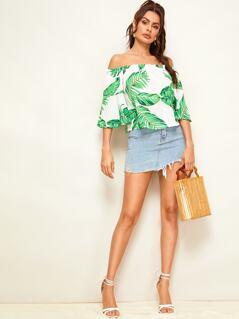 Frill Trim Jungle Leaf Print Bardot Top