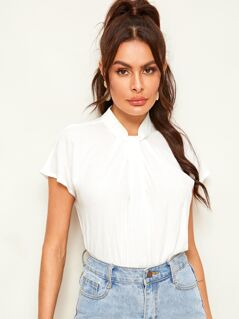 Keyhole Back Mock-neck Solid Top