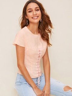 Zip Back Lace Up Front Solid Top