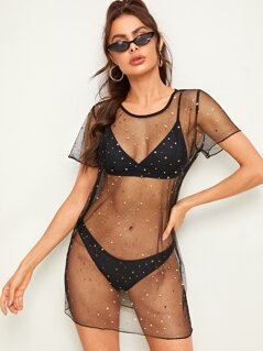 Star Mesh Cover Up Top Without Swimwear