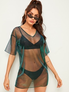 Drop Shoulder Metallic Mesh Top Without Lingerie