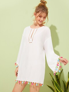 Cutout Front Colorful Tassel Trim Cover Up