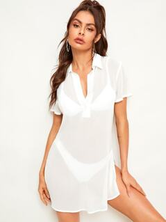 Slit Side Half Placket Cover Up