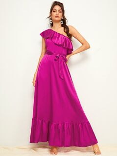 One Shoulder Flippy Hem Belted Maxi Satin Dress