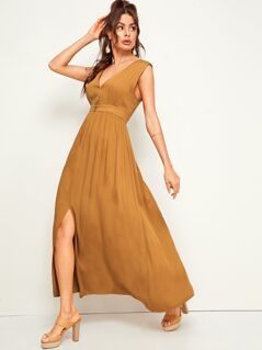 Solid Button Front Slit Hem Sleeveless Dress