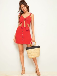Button Front Knotted Front Peekaboo Slip Dress