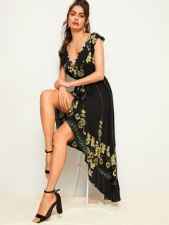 Flower Embroidered Ruffle Trim Wrap Belted Dress